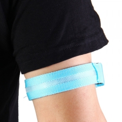 Outdoor Running LED Light Flash Nylon Arm Band Reflective Wristband Wrist Collar Ring blue