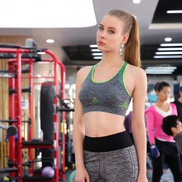 Women Running Sports Bra Seamless Padded Sports Bra Professional Athletic Vest Fitness Running Bra Green S