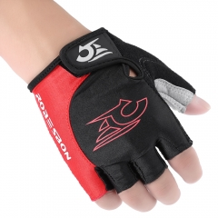 Outdoor Unisex Shock-absorbing Foam Pad Half Finger Cycling Gloves Red with Black M