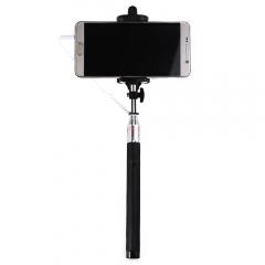 Wire Control Selfie Stick Remote Shutter Folding Hand-held Monopod Black