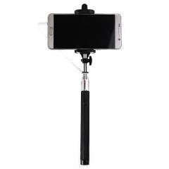 Wire Control Selfie Stick Remote Shutter Folding Hand-held Monopod Black