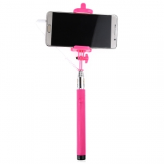 Wire Control Selfie Stick Remote Shutter Folding Hand-held Monopod Rose