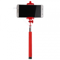 Wire Control Selfie Stick Remote Shutter Folding Hand-held Monopod Red