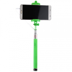 Wire Control Selfie Stick Remote Shutter Folding Hand-held Monopod Green