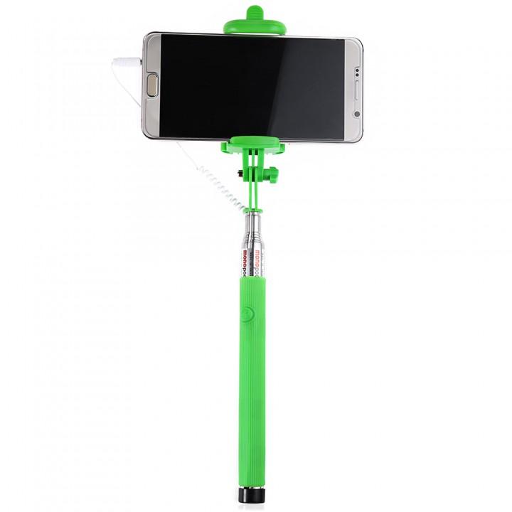 Wire Control Selfie Stick Remote Shutter Folding Hand-held Monopod Green