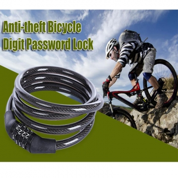 Portable Anti-theft Bicycle Round Shape Password Lock Security Protector Black