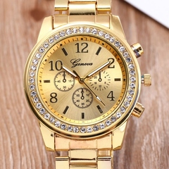 GENEVA Brand Fashion Wrist Watch Women Rhinestone Wristwatches Ladies Classic Luxury Quartz Watches gold one size