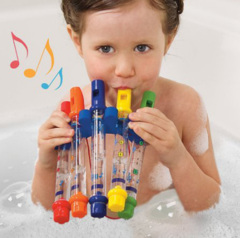 Five-color flute for infants and toys in bathroom, bathing, playing water and playing music flute random one size