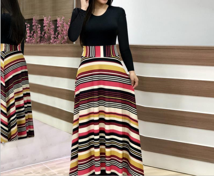 2019 hot style promotion, sale snap up, women's dresses, sexy long dresses, short sleeved dresses s black+rainbow