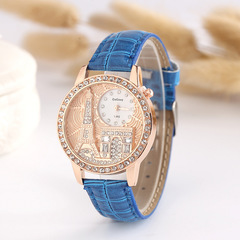 Women's Watch Fashion Diamond Paris Eiffel Tower Belt Table blue one size