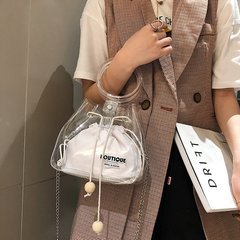 [Product video viewing] Ladies fashion transparent shoulder bag handbag white one size