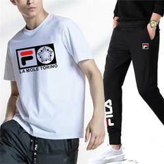 Fila 2019 summer new men's short-sleeved T-shirt sports pants suit white t-shirt + black pants l cotton