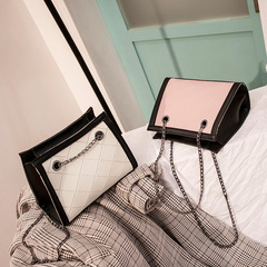 Chain small square bag new Korean mini bag girl bag Messenger bag shoulder bag pink one size