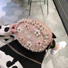 Fashion lady decorative flower pattern flower shoulder bag pink one size