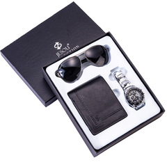 Men's gift set beautifully wrapped watch + wallet + sunglasses set outside creative combination Black sunglasses + black wallet + silver watch + g one size