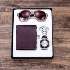 Men's gift set beautifully wrapped watch + wallet + sunglasses set outside creative combination Brown sunglasses + brown wallet + silver watch + g one size