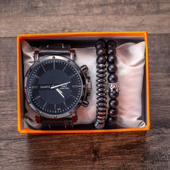 Men's Gift Set Beautifully Wrapped Watch + Bracelet Set black one size
