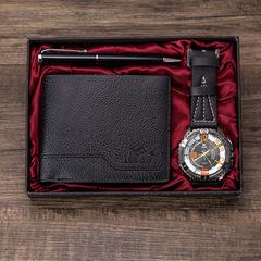 New men's beautifully packaged watch + wallet + pen combination set Set 1: black watch + black wallet + black pen one size