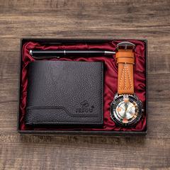 New men's beautifully packaged watch + wallet + pen combination set Set 3: yellow watch + black wallet + black pen one size