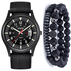 Explosion models men's fashion simple with calendar canvas quartz watch + bracelet set BLACK(Quartz Watch with Calendar Canvas + Bracelet ONE  SIZE
