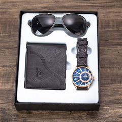 Men's Gift Set Watch + Wallet + Sunglasses Set Creative Set Black watch + black wallet + black sunglasses one size