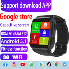 Android 5.1 Smart Watch Phone 8GB+512MB Sports Health Black black rom 8gb+ram512mb