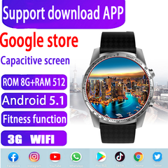 Smart Watch Phone Android 5.1(8GB+512MB)Sports Health Black black rom 8gb+ram512mb