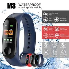 M3 Smart Bracelet Color Screen Blood Pressure Waterproof Fitness Watch Heart Rate Monitor Smart Band blue one size