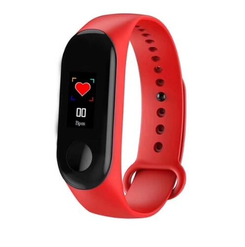 M3 Smart Bracelet Color Screen Blood Pressure Waterproof Fitness Watch Heart Rate Monitor Smart Band red one size