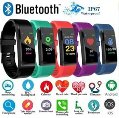 115 Plus Color Screen Fitness Tracker with Heart Rate Monitor Blood Pressure IP67 Smart Band blue one size