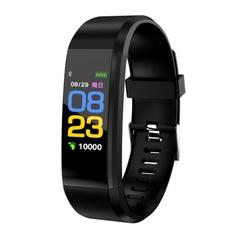 115 Plus Color Screen Fitness Tracker with Heart Rate Monitor Blood Pressure IP67 Smart Band black one size