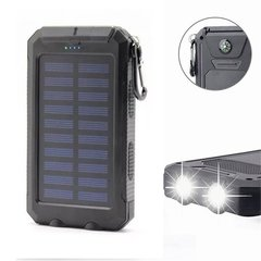 20000mAh Portable Outdoor Waterproof Polymer Universal Solar Power Bank for Mobile Phone Black 20000
