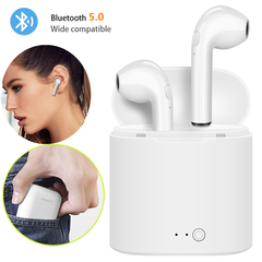 Wireless Bluetooth Earphone i7s Stereo Earbud Headset With Charging Box All Smart Phone air pods White