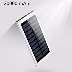 20000mAh Solar Power Bank Dual USB powerbank Waterproof Battery External Charging 2USB powerbank White 20000