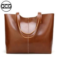 QCG Fashion Handbag Women Tote Bucket Shoulder bag vintage bag Bright oil leather Tot bag brown one size