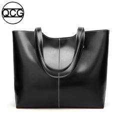 QCG Fashion Handbag Women Tote Bucket Shoulder bag vintage bag Bright oil leather Tot bag black one size