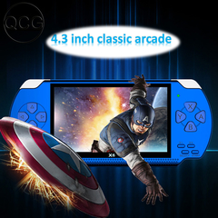 QCG New handheld game console 4.3inch 64-bit 8GB DTS 5.1 sound hd mp5 multi-languauge PSP handheld blue one size