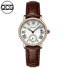 QCG womens watch Fashion Stylish simplicity quartz watch Leather strap Waterproof female watch brown one size