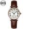 QCG womens watch Fashion Stylish simplicity quartz watch Leather strap Waterproof female watch black one size