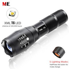 ME LED Tactical Flashlight Led Torch Zoom LED Flashlight Waterproof Rechargeable Torch Light Black 10 W