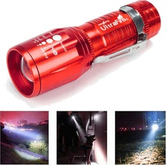ME Outdoor Portable Light XM-L T6 LED Flashlight High Power Torch light Red 3 shift zoom
