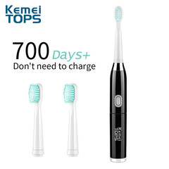 Kemei KM 915 Electric Toothbrush Whole Body Wash Adult Timer Brush with 3pcs Replacement Head black