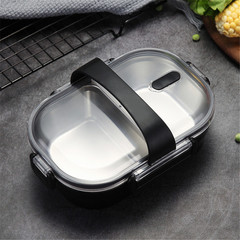 WORTHBUY Portable Lunch Box 304 Stainless Steel Bento Box Leak-proof Food Container Food Box black one size