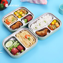 WORTHBUY 304 Stainless Steel Lunch Box With Compartments Microwave Bento Box Picnic Food Container Pink 2 Compart Set one size