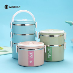 WORTHBUY Stainless Steel Thermal Lunch Box Microwave Container Bento Lunch Box Food Containers green 1 layer