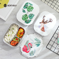 WORTHBUY Color Pattern Bento Box 304 Stainless Steel Lunch Box With Compartments Food Container Box Deer Set 3 Compart