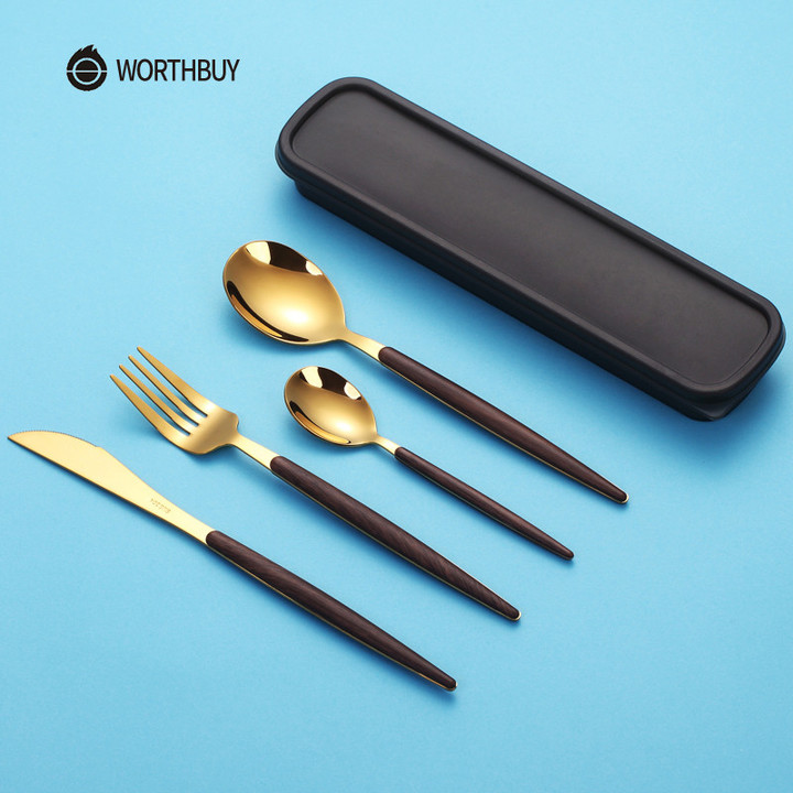 8541646b3030 WORTHBUY 304 Stainless Steel Cutlery Set Portable Travel Tableware Spoon  Fork Dinnerware Kitchen Silver 2 Pcs With Box