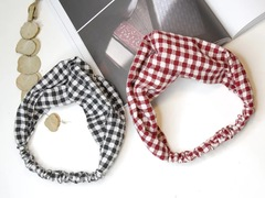 Cloth small plaid cross hair band cute simple hair accessories headdress red