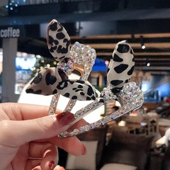 Fabric Leopard Rabbit Ears Rhinestones Cute Hair Clips Women Fashion Hair Accessories gold