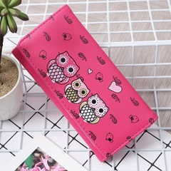 Women Wallets Cute Owl Lady Coin Purse Long Style Money Bags Card Holders Handbag Clutch Bag Hot pink one size